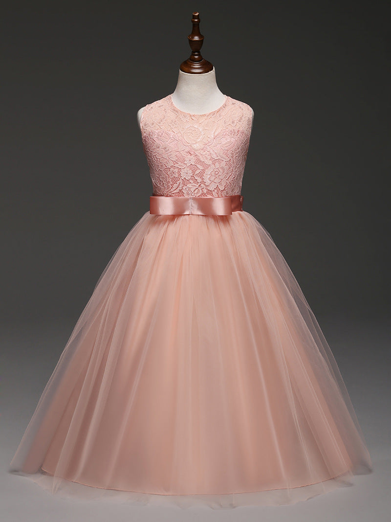 Princess Pink Lace Flower Girl Dresses 2018 Tulle Girls Pageant