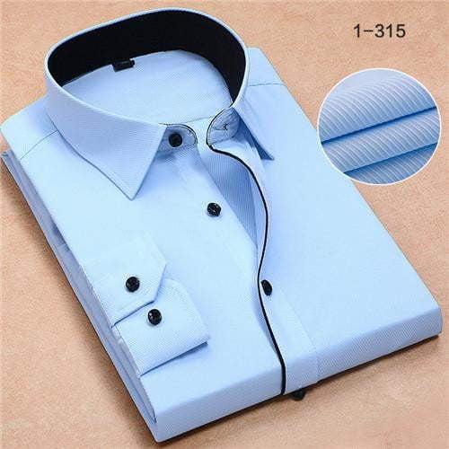 cec6e2c89 Recommend 2017 good Patchwork black button turn down collar long sleeve  twill business formal mens dress shirts solid men 's top