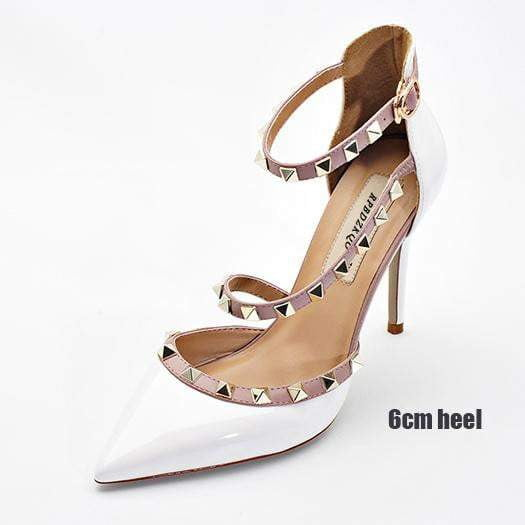 8a5ff58040 Runway Scarpin Nude High Heels Pointed Toe Rivet Pumps Fashion Brand Women  Shoes 2017 Italian Ankle Strap Big Size 9 41 Stud 1
