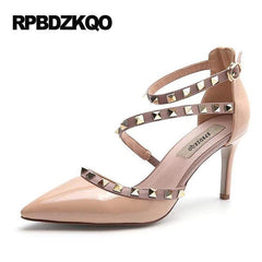 Runway Scarpin Nude High Heels Pointed Toe Rivet Pumps Fashion Brand Women Shoes 2017 Italian Ankle Strap Big Size 9 41 Stud 1