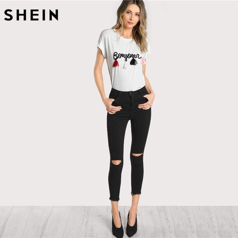 039a0b35eb SHEIN T shirt Women Tops Summer O-neck T shirt Batwing Sleeve Tassel Detail  Embroidery Dolman Top White Short Sleeve T-shirt