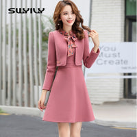 SWYIVY Women's Dress Suit Wool Jacket Coat Winter 2018 Autumn Winter Slim Dress Coat Two Pieces Set Casual Female OL Outwear XXL - inaaz.biz