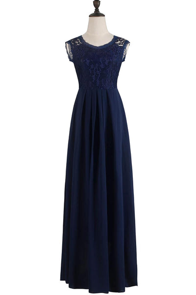 Sexy Illusion Royal Blue Lace Long Plus Size Evening Dress 2019 Cheap V Neck Chiffon Beach Evening Gowns Robe De Soiree - inaaz.biz