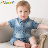 Sodawn Summer New Arrival Denium Baby Boys Clothing  Fashion Design Lovely Romper Comfortable Bebe Girls Clothes - inaaz.biz