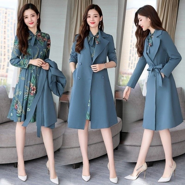Women Trench Coat Spring Autumn Slim  Women Dress Windbreakers Plus Size Two Pieces Coat Sets