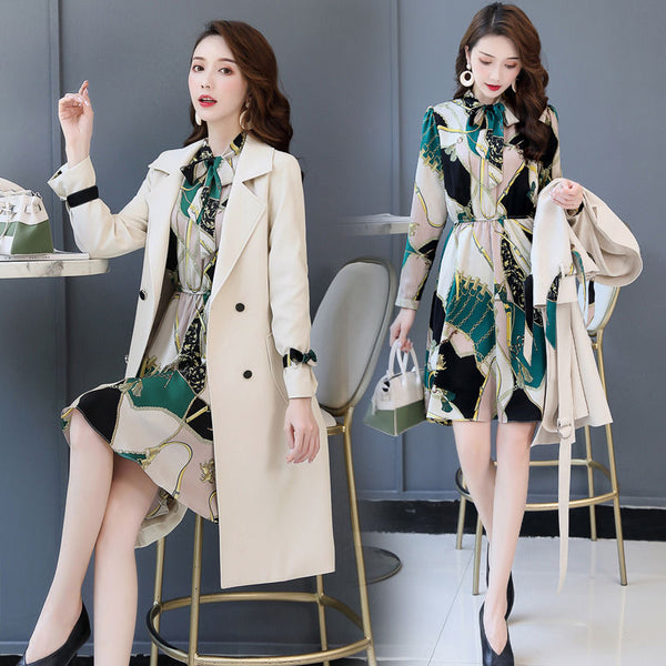 Women Trench Coat Spring Autumn Slim Women Dress Windbreakers Plus Size Two Pieces Women Trench Coats
