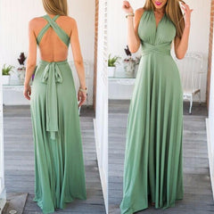 Women Dress Summer Ball Gown Sleeveless Halter Multi Way Wrap Convertible Elegant  Party Dress
