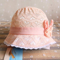 Summer Cute Princess Baby Hat With Bow Solid Color Lace Hollow Baby Girl Cap Toddler Kids Beach Bucket Hats - inaaz.biz