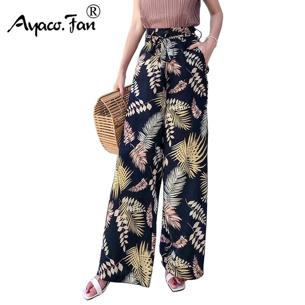 Women Trouser New Vintage Boho Wide Leg Pants High Waist Loose Floral Print Long Casual Pant