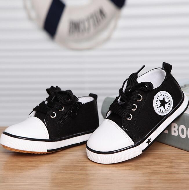 Canvas Shoes Summer Spring Star Sneakers Kids Lace-up Casual Shoes girls Boys Black Withe Red