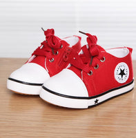Canvas Shoes Summer Spring Star Sneakers Kids Lace-up Casual Shoes girls Boys Black Withe Red - inaaz.biz