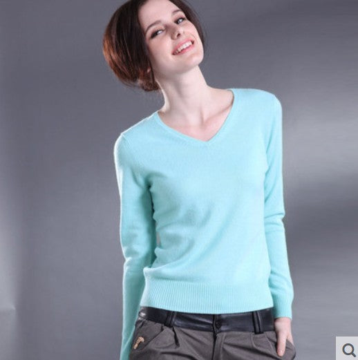 Women Sweater V-Neck Autumn Cashmere Wool Knit Sweater Slim Pullovers Blouse Knit Sweater
