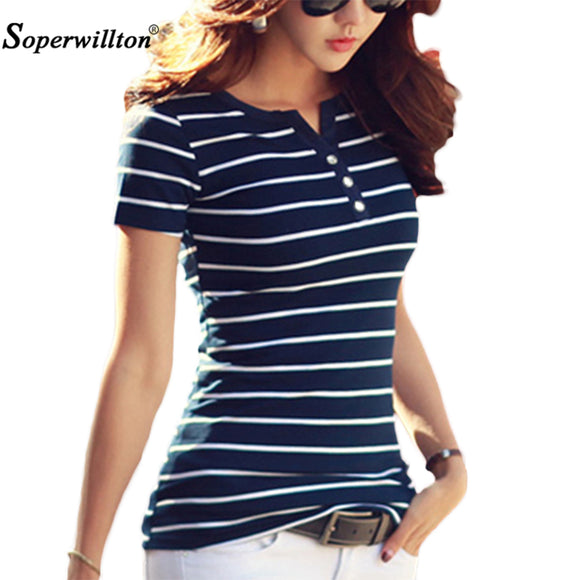 T Shirt Women 2019 Summer Top Shirts V-neck Short Sleeve Casual tshirts White Strip T-Shirt Plus Size Cotton Tee Shirt Femme #98