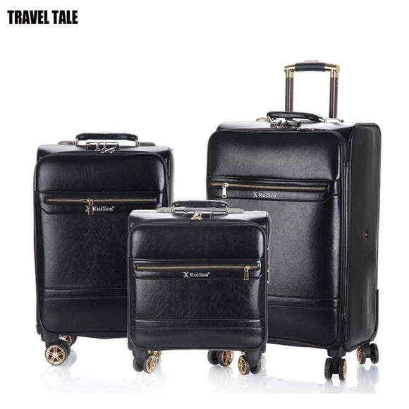 TRAVEL TALE retro leather spinner travel suitcase koffers trolleys set rolling luggage set for trip