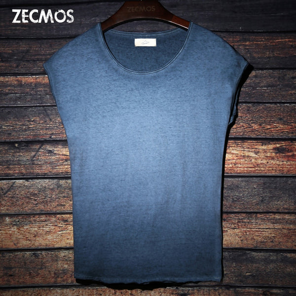 Men T-Shirt Zecmos Tie Dye Crew Neck Sleeveless Top Tees Hip Hop Cotton  Black Blue Red Tshirt - inaaz.biz