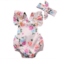 Toddler Infantil Newborn Baby Girls Floral Romper Fashion Jumpsuit Summer Headband 2PCS Sunsuit Outfit Set - inaaz.biz