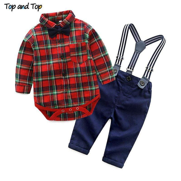 Top and Top Spring Cotton Gentleman Baby Boys Clothes Clothing Sets Plaid Long Sleeve Biw tie Shirt Rompers Suspenders Pants - inaaz.biz