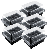 VICTMAX 5 Set 12 Cells Nursery Pot Planting Seed Tray Kit Plant Germination Box With Lid Garden Grow Box