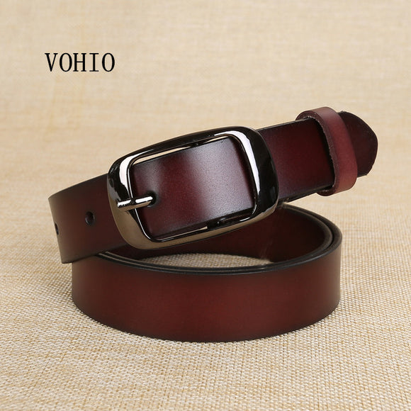 VOHIO New Designer Fashion Women's Belts Genuine Leather Brand Straps Female Waistband Pin Buckles Fancy Vintage for Jeans Pure