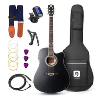 "Vangoa - 41"" Full-Size VG-41ECBK Acoustic Electric Cutaway Guitar with Guitar Gig Bag, Strap, Tuner, String, Picks, Capo - inaaz.biz"