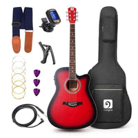 "Vangoa - 41"" Full-Size VG-41ECBK Acoustic Electric Cutaway Guitar with Guitar Gig Bag, Strap, Tuner, String, Picks, Capo"