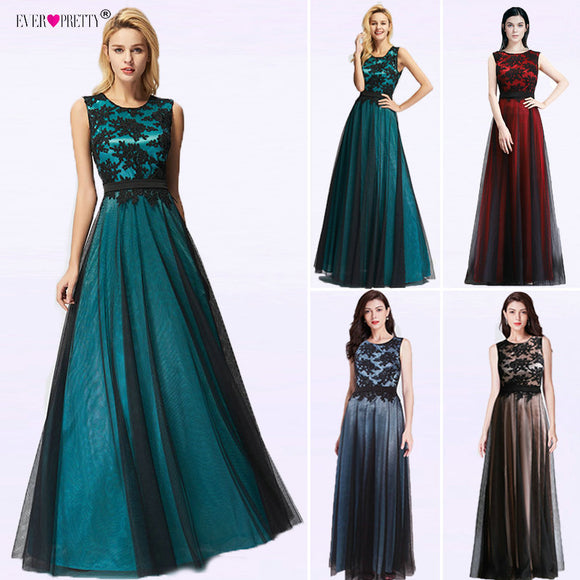 Women Dress Lace Appliques Long Evening Dresses Evening Party Dress