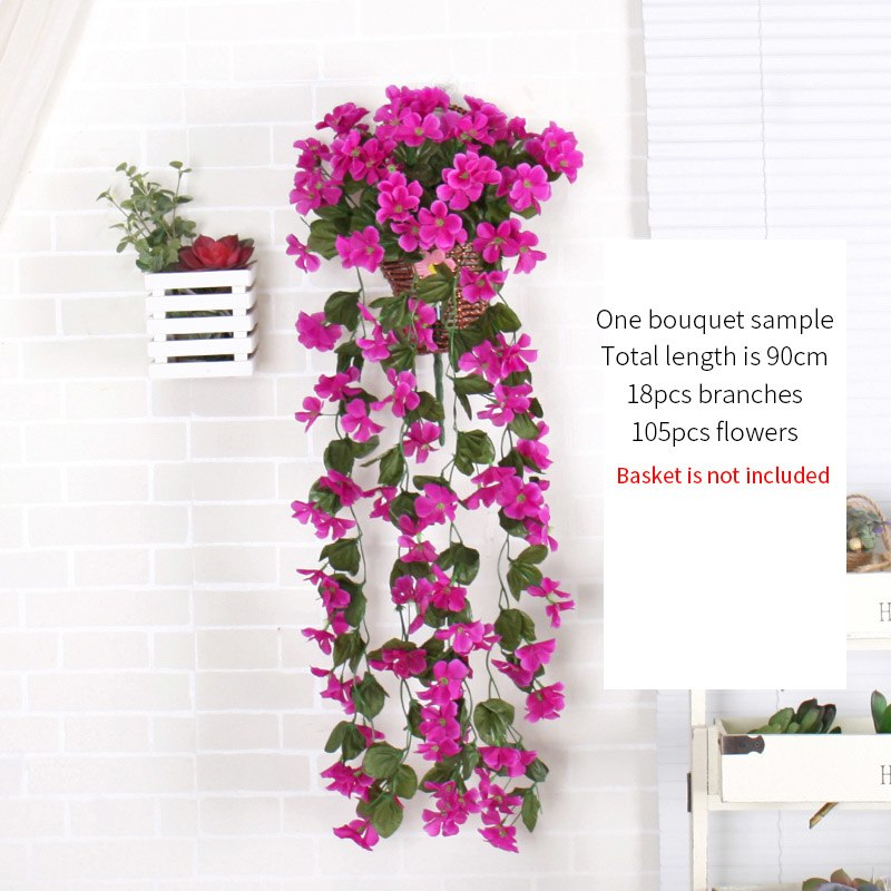 Violet artificial flower decor simulation wedding wall hanging violet artificial flower decor simulation wedding wall hanging basket flower vine orchid silk flower rattan outdoor mightylinksfo