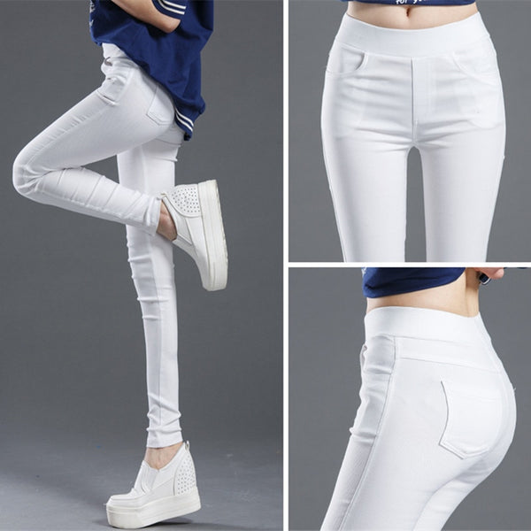 Women Pant WKOUD Pencil Pants Full Length Leggings High Waist Stretch Trouser Pant