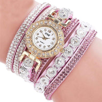 Watch relogio  Women Quartz, PU Leather  Rhinestone  Bracelet Watch