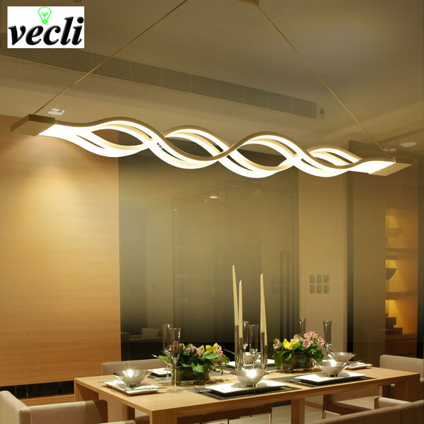 LED pendant light Wave design modern dinning  bed room  Hanging Light AC 85-260V 80W Chandelier - inaaz.biz