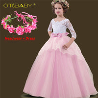 Girl Dress Lace Hollow Tail Kids Dress Princess Floral  Dresses Child Long Ball Party Gowns