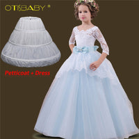 Girl Dress Lace Hollow Tail Kids Dress Princess Floral  Dresses Child Long Ball Party Gowns - inaaz.biz
