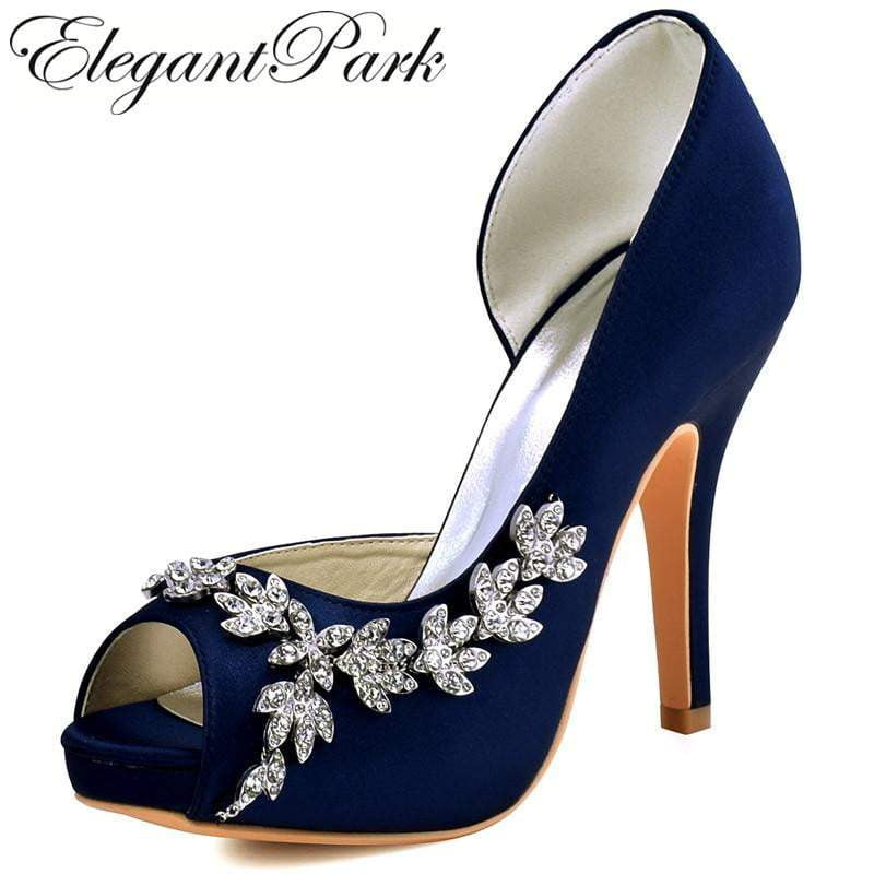 3952ad1753b5 Woman High Heel Platform Bridal Wedding Shoes Navy Blue Purple Peep Toe  Rhinestones Satin Bridesmaids lady ...