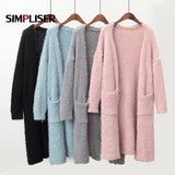 Women Cardigans Popcorn Sweaters Open Knitted Coat With Pocket Long Sleeve 2019