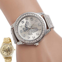 Women Dress Watch Luxury Diamond Dial Wrist Quartz Watches Ladies Butterfly Pattern Stainless Steel Bracelet Watch Reloj Montre - inaaz.biz