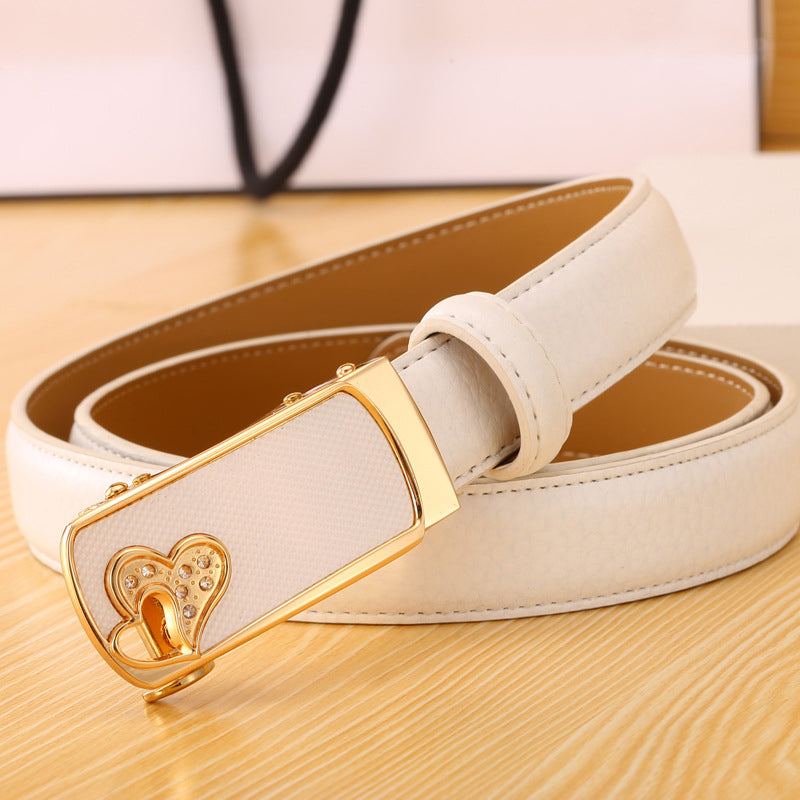 b36ce9202854 ... Women Fashion Designer Belts With Rhinestones For Jeans Ladies Gold  Automatic Buckle Metal Leather Belt Ceinture ...