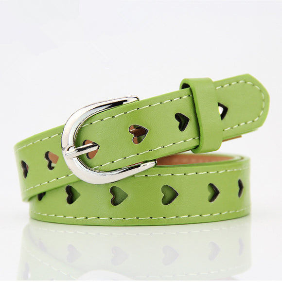 Women Fashion Heart Hollow Belt Faux Leather Belt Without Drilling Jeans Metal Buckle Straps Waistband Trendy Decor Accessories