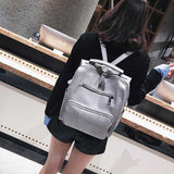 Women Leather Backpack Female Teenage Girls School Backpacks Vintage Large Multifunction Mochila Solid Shoulder Bag Black XA528H - inaaz.biz