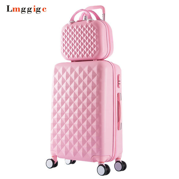 Women Luggage Bag set,Diamond pattern Suitcase with Handbag,Fashion Rolling Travel Box,Universal Wheel Trolley ABS Hardcase Case