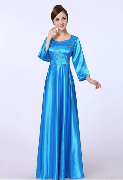 Women Dress Abaya Sequined Chorus Performance Costume O-Neck Long Recitation Chorus Ensemble Welcome Ceremony Stage Performance Dress