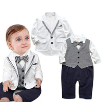ZOETOPKID Baby Boys Clothing Set Brand Gentleman Striped Tie Romper + Jacket 2pcs Set For 6-18M Baby Boy Clothes Infant Clothing - inaaz.biz