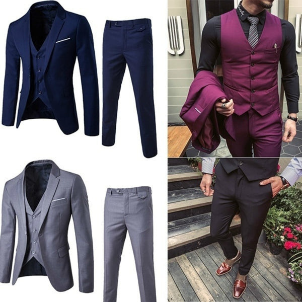 Men Suits , ZOGAA Dress Suits 5XL 4XL  New Business Slim Fit Wedding Groom SuitS, 3 Piece Suits - inaaz.biz