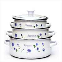 free shipping enamel cooking pots set 3 mini casserole with glass cover  stew pot soup pot milk pot 16/18/20cm - inaaz.biz