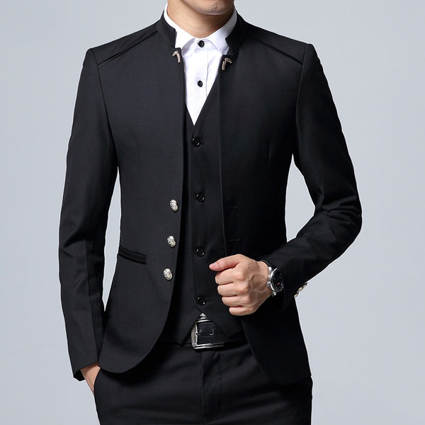 Men Suit Blazer jacket Vest pant Slim Black Blue with Wine Red Men Coat Waistcoat Pant - inaaz.biz