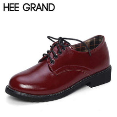 HEE GRAND 2017 Patent Leather Women Oxfords British New Spring Platform Flats Casual Lace-Up Ladies Brogue Shoes Woman XWD2530