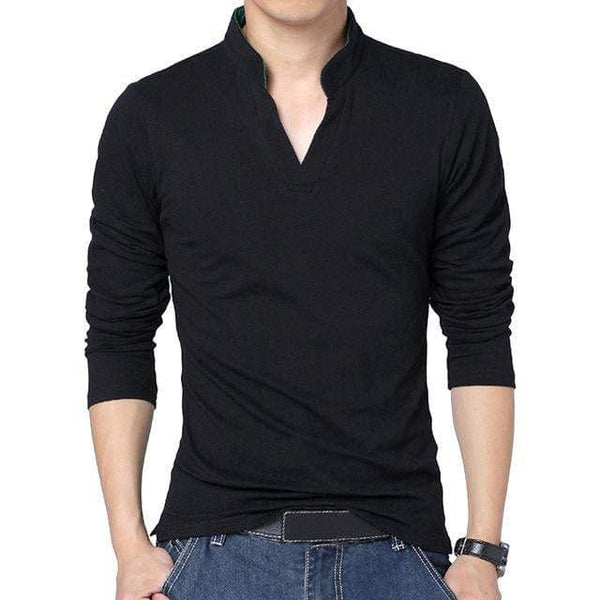 Men Tshirt Pullover V Neck Slim Long Sleeve Shirts Tracksuit Tops High Quality Shirt