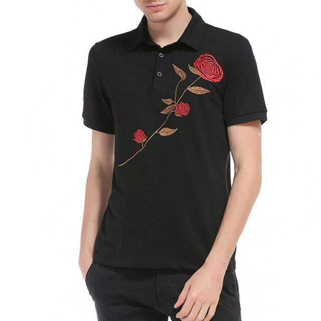 Fashion Embroidery Polo Shirts Men Summer Floral Short Sleeve Polos Male Breathable Slim Fit Tee Shirt Mens Party Tops 3