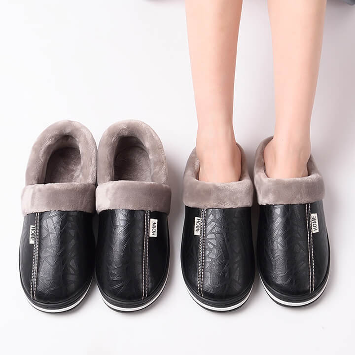 Super Warm Luxury Leather Plush Slippers