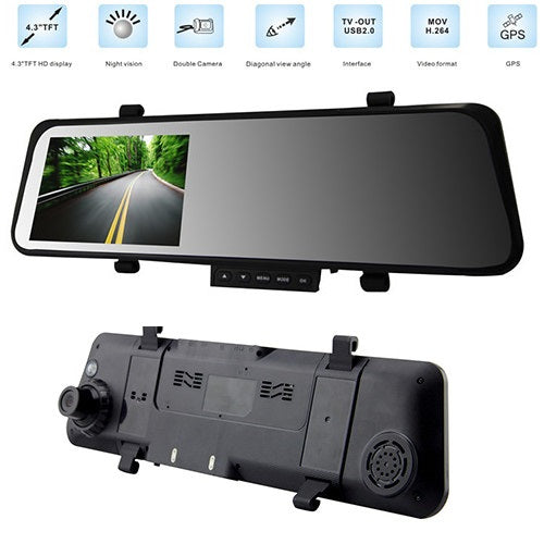 "4.3"" LCD Car Rear View Mirror DVR with Double Camera"