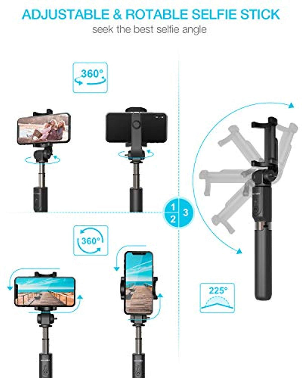 Extendable Selfie Stick Tripod with Wireless Remote